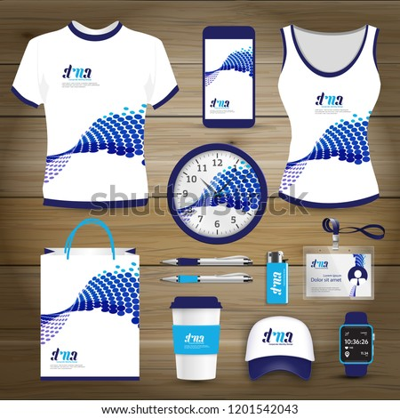 Promotion Gift Items business corporate identity, Vector abstract Color souvenirs design . digital technology company background set, man & woman sport suit t shirt  with smart phone.