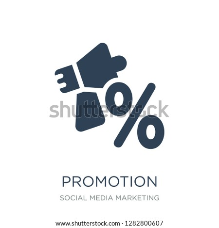 promotion icon vector on white background, promotion trendy filled icons from Social media marketing collection, promotion vector illustration
