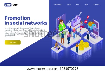 Promotion in social networks. Chatbot, video broadcast, stories, SMM promotion, online analytics. People in social network. 3d puzzle pieces. Flat 3d isometric banner. Website banner templates.
