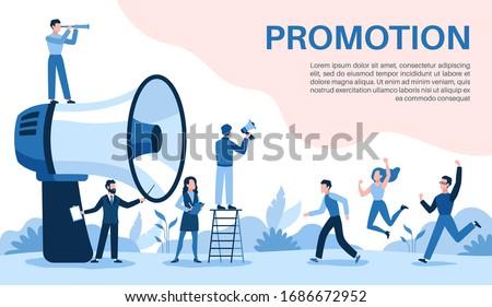 Promotion with megaphone. Big loudspeaker, promoter speaks people, attracts investors and businessmen, social media marketing vector online business concept Foto stock ©