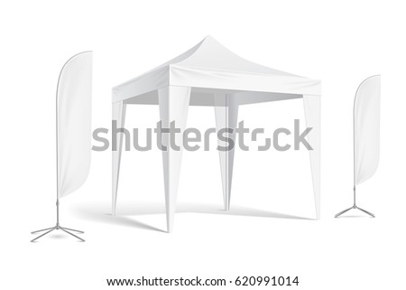 Promotional Advertising Outdoor Event Trade Show Pop-Up Tent Mobile Advertising Marquee with Feather Flag. Mock Up, Template. Illustration Isolated On White Background. Vector - stock vector