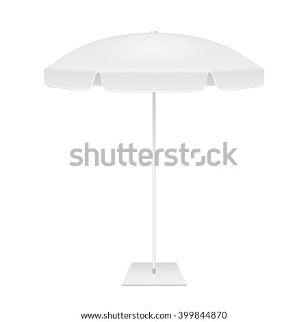 Promotional Advertising Outdoor Garden White Umbrella Parasol. Mock Up, Template. Illustration Isolated On White Background. Ready For Your Design. Product Packing. Vector EPS10