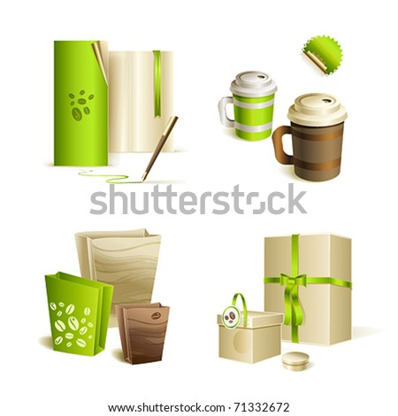 Promotional  advertising set. Coffee mugs, and packaging.