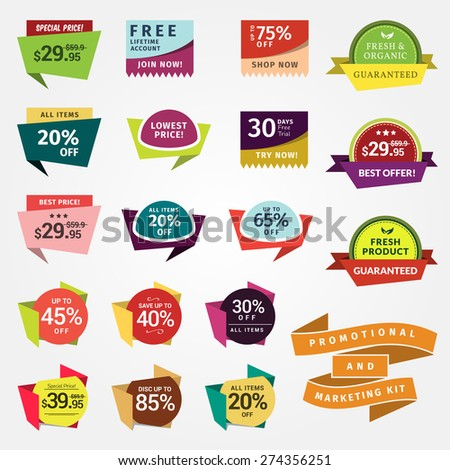 Promotional Badges and Sale Tags. Promotional badges and sale tags for your designs, such us for online shop, newsletter or email marketing, advertising, etc.