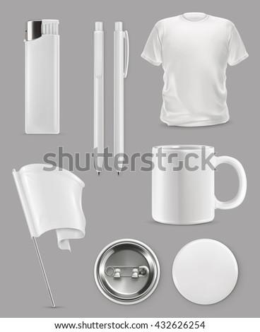 Promotional items, vector set mockup