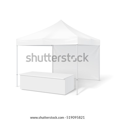 Promotional Outdoor Event Trade Show Pop-Up Tent Mobile Marquee. Mockup, Mock Up, Template. Illustration Isolated On White Background. Ready For Your Design. Product Advertising. Vector EPS10