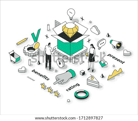 Promotional overview of the product. Presenting benefits, features and important information about the product to persuade customers. Business startup marketing outline isometric concept illustration Foto stock ©