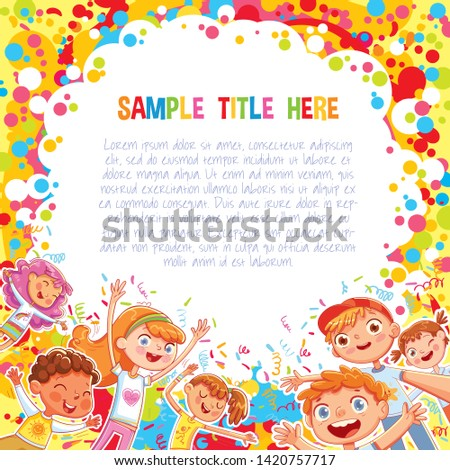 Promotional poster or banner template for a children's event. Advertising holiday template. Kids have fun jumping and dancing on confetti background. Kids party. Ready made design for a theme park