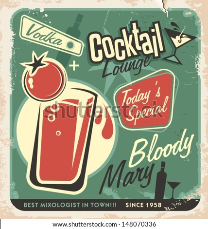 Promotional retro poster design for one of the most popular cocktails