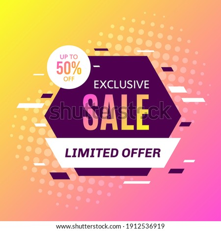 Promotional sale banner template design. Exclusive sale, limited sale, 50 percent off