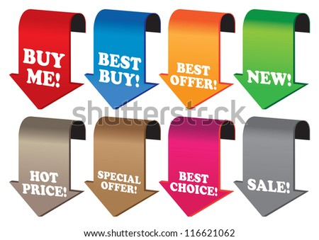 Promotional sale labels with price percent cut. Vector illustration.