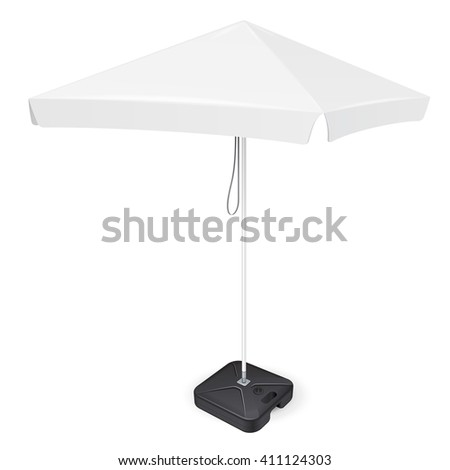 Promotional Square Advertising Outdoor Garden White Umbrella Parasol. Mock Up, Template. Illustration Isolated On White Background. Ready For Your Design. Product Packing. Vector EPS10