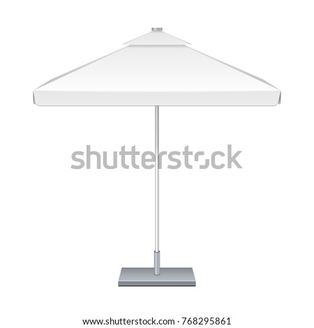 Promotional Square Outdoor Garden White Umbrella Parasol. Front View. Mock Up, Template. Illustration Isolated On White Background. Ready For Your Design. Product Advertising. Vector EPS10