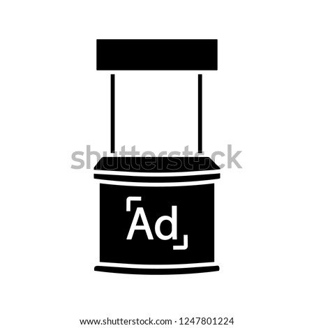 Promotional stand glyph icon. Promo exhibition stand. Market stall. Promotion tasting counter. Advertising and marketing. Silhouette symbol. Negative space. Vector isolated illustration