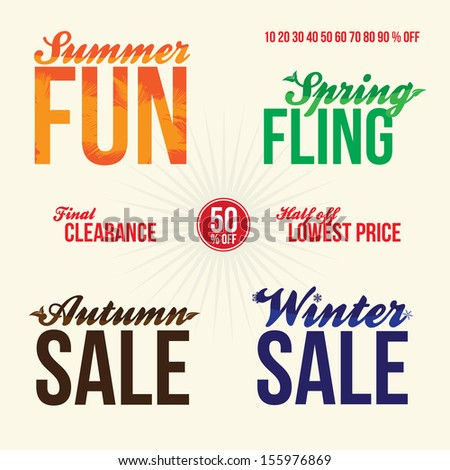 Promotional vintage typography sale elements logos for signage or web advertising that read summer fun spring fling final clearance 50 percent off half off lowest price autumn and winter sales. Stock photo ©
