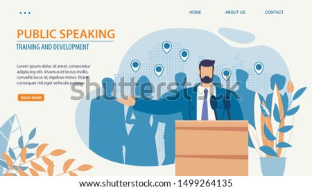 Prompt Poster Inscription Public Speacking Flat. Training and Development. An Online Learning System Leads Students from Starting Point to Finish Line. Man in Suit Stands in Front an Audience.