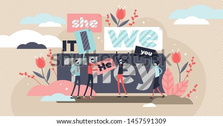 Pronouns vector illustration. Flat tiny substitutes words person concept. Abstract fun it, she, we, they, it word banners. Correct language linguistics and grammar knowledge. Part of word speech study