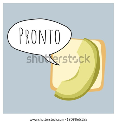 Pronto. Avocado handset with speach bubble. Humoristic vector illustration with smartphone icon. Messenger. Design template, cartoon print design. Fun art. Trendy, modern isolated illustration. Device Foto stock ©