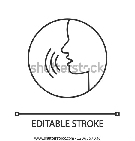 Pronunciation linear icon. Phonetic spelling. Thin line illustration. Speech recognition. Speaking. Basic language skill. Voice control. Contour vector isolated drawing. Editable stroke