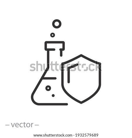 proof chemical resistant icon, flask with shield, protection against chemistry, safety laboratory experiment, toxic defense, linear sign isolated on white background - editable vector illustration