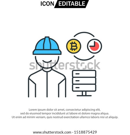 proof of capacity Flat Icon Cryptocurrency vector illustration