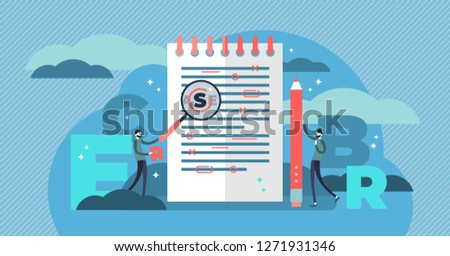 Proofreading vector illustration. Mini persons concept with grammar errors in newspaper manuscript. Isolated red mistakes in text. Editing and correction job in school or college. Punctuation problem.