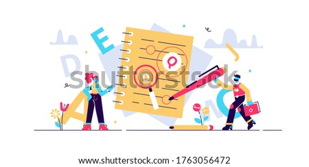 Proofreading vector illustration. Mini persons concept with grammar errors in newspaper manuscript. Isolated red mistakes in text. Editing and correction job in school or college. Punctuation problem. Stock photo ©
