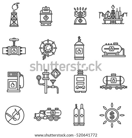 Propane gas icons set. Mining, shipping, processing and storage of gas, thin line design. Gas industry, linear symbols collection