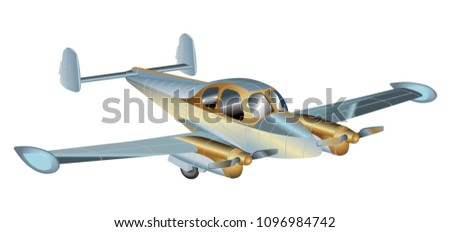 Propeller Airplane private realistic vector illustration isolated on white background