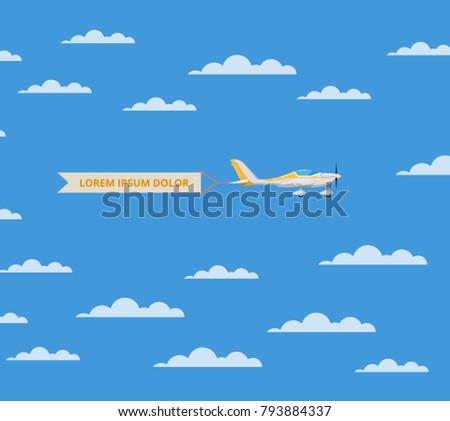 Propeller airplane with banner in cloudy blue sky. Comfortable air transportation banner with side view screw aircraft. Pilot academy advertising, commercial small aviation vector illustration.