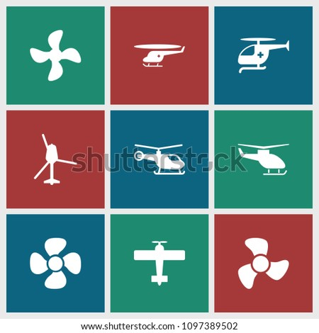 Propeller icon. collection of 9 propeller filled icons such as helicopter, fan, medical helicopter. editable propeller icons for web and mobile.