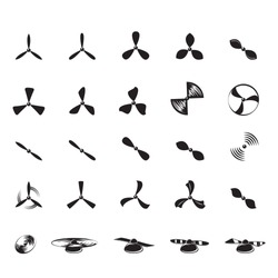 Propeller Icons Set - Isolated On White Background - Vector Illustration, Graphic Design, Editable For Your Design