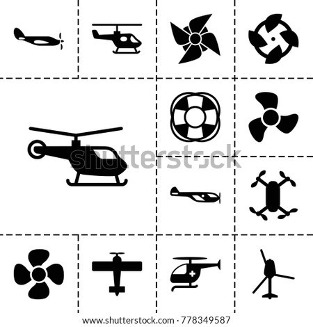 Propeller icons. set of 13 editable filled propeller icons such as helicopter, fan, axle with propeller, medical helicopter