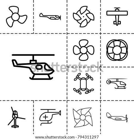 Propeller icons. set of 13 editable outline propeller icons such as helicopter, fan, axle with propeller, medical helicopter
