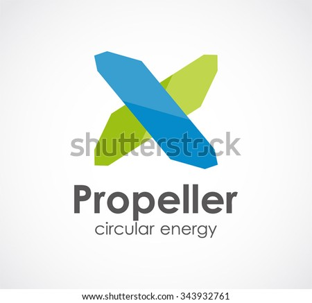 propeller of ribbon windmill abstract vector and logo design or