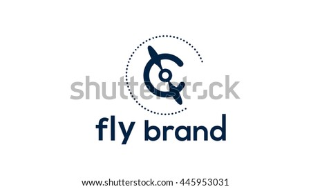 Propeller vector logo design. Flying brand identity