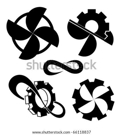 propellers and cogwheels. Vector one color icons