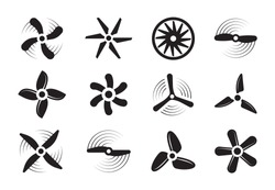 Propellers silhouette set. Modern retro coolers turbine rotary turbulence airplanes stylish ventilation cooling systems graphic power air flow ship rotation energy. Aerial vector silhouette.