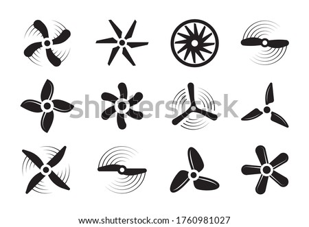 Propellers silhouette set. Modern retro coolers turbine rotary turbulence airplanes stylish ventilation cooling systems graphic power air flow ship rotation energy. Aerial vector silhouette. ストックフォト ©