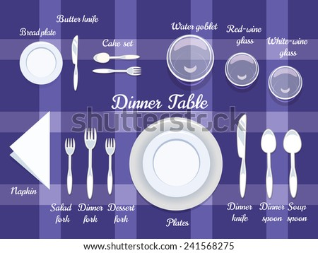 Proper Arrangement of Cartooned Cutlery on Dining Table with Abstract Violet Background Design.  sc 1 st  Vecteezy & Dinner Table Setting - Download Free Vector Art Stock Graphics ...