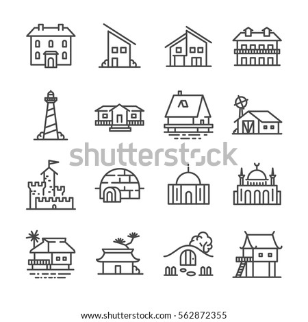 Property and accommodation icon set. Included the icons as home, house, palace, resort, apartment, tower and more.