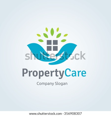 Property Care Logo Template, Real estate, Home and House Care symbol.
