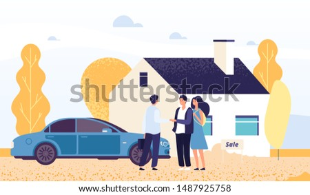 Property concept. Happy young couple buys a house. Vector real estate agent, male and female characters