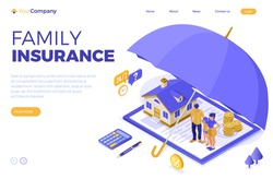Property House Family Finance Insurance Isometric Concept for Poster Web Site Advertising with Insurance Policy on clipboard money umbrella and calculator. landing page. isolated vector illustration