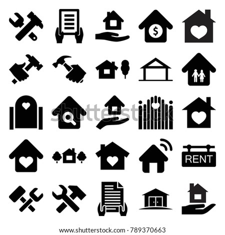 Property icons. set of 25 editable filled property icons such as home, home care, holding document, hummer and wrench, hummer, house with heart, house and tree, gate, rent tag