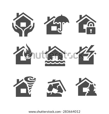 Property insurance icons. Home protections and insurance risks. Vector illustration. Simplus series