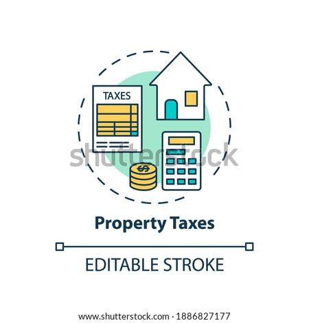 Property taxes concept icon. Mortgage payment element idea thin line illustration. Borrowers monthly mortgage bills. Escrow account. Vector isolated outline RGB color drawing. Editable stroke Foto stock ©