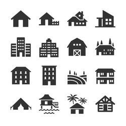 Property type icon set. Included the icons as house, farm, barn, apartment, building, real estate and more.