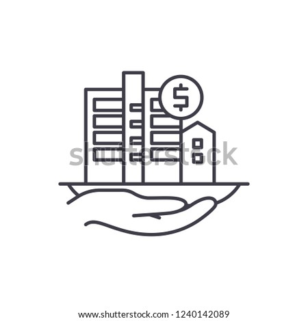 Property valuation line icon concept. Property valuation vector linear illustration, symbol, sign