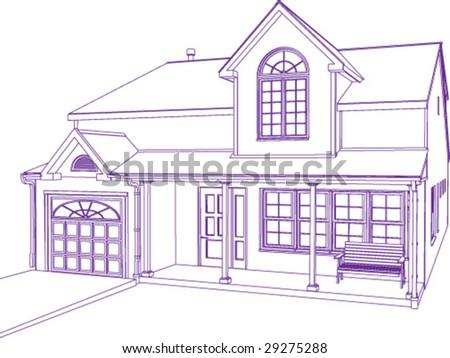Proprietary house, blueprint style (illustration)